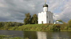 Church of Intercession upon Nerl River Stock Footage