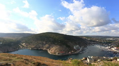 Top view to Balaklava and Balaklava Bay in the sunny summer day Stock Footage