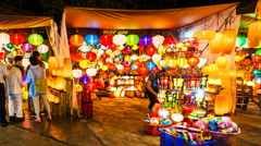 1080 - Hoi An Lantern city - Vietnam Time Lapse - stock footage