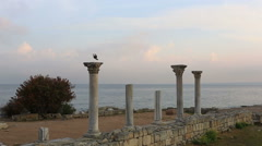 Columns of the Ancient Greek temple in Chersones, Sevastopol, the Crimea Stock Footage
