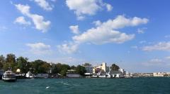 Sea walk on bays of Sevastopol, the Crimea Stock Footage