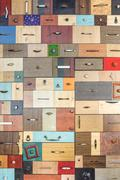 Various little colorful drawers - .interior detail. Stock Photos