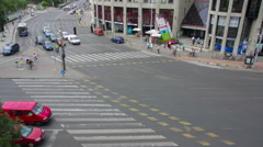 Top view on the big transport intersection Stock Footage