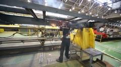 Welder works in Tver Railway Carriage Plant. Stock Footage