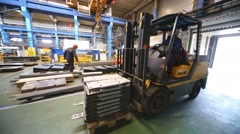 Loader works in Tver Railway Carriage Plant. Stock Footage