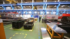 Big shop for metal cutting in Tver Railway Carriage Plant. Stock Footage