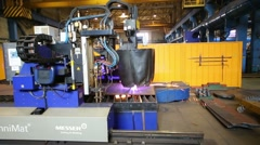 Thermal cutting machine works in Tver Railway Carriage Plant Stock Footage