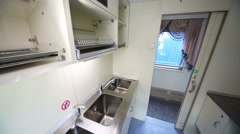 Small kitchen in Tver Railway Carriage Plant. Stock Footage