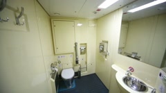 Toilet room in train in Tver Railway Carriage Plant. Stock Footage