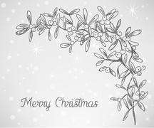 christmas mistletoe doodle - stock illustration