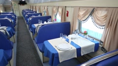 Restaurant in railway car in Tver Railway Carriage Plant. Stock Footage