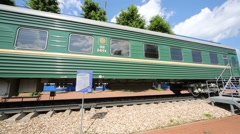 New green carriage outdoor in Tver Railway Carriage Plant. Stock Footage