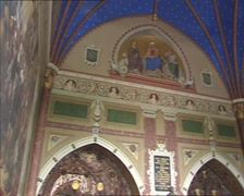 Roskilde Cathedral interior Chapel of Christian IV  + tilt down coffins Stock Footage