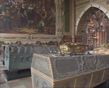 ROSKILDE CATHEDRAL pan interior Chapel of Christian IV with  coffins and statue Stock Footage