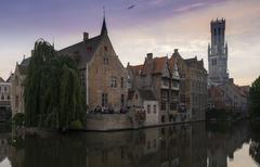 bruges belfry in the evening - stock photo