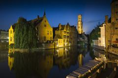 Stock Photo of bruges belfry in the evening