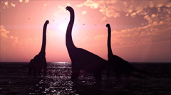 Dinosaurs in a prehistoric lake at sunset HD video 1080 Stock Footage