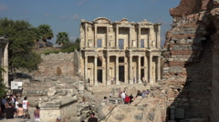 Ephesus Turkey Ancient Roman Library of Celsus HD Stock Footage