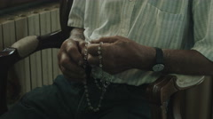 sad man praying: faith, fear, hope, spiritual seeking, reconciliation - stock footage