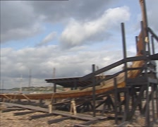 Building a reconstruction of a prehistoric Viking Ship - skeleton in boatyard Stock Footage