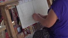 Ephesus Turkey woman weaves handmade rug HD 041 Stock Footage
