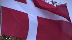 Close-up of the Danish flag, the Dannebrog Stock Footage