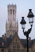 Early morning on grote markt in bruges Stock Photos