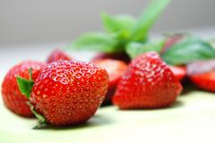 Composition of ripe fresh strawberries Stock Photos