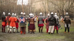 Backs of warriors at Battle of East - Russia-Orda XI-XV centuries Stock Footage