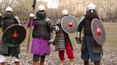 Four warrior in armor at Russia-Orda XI-XV centuries - stock footage