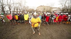 Men in costumes at Russia-Orda XI-XV centuries on Maneuvers Stock Footage