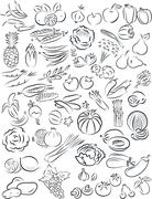 Vegetables and fruits Stock Illustration