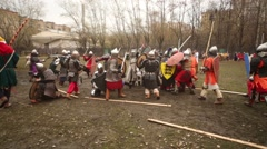 Warriors fight with shields at Russia-Orda XI-XV centuries Stock Footage