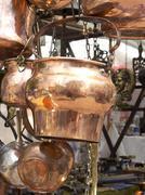 Selling antique copper kitchen utensils Stock Photos