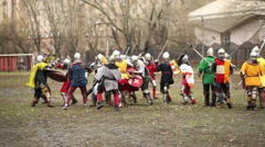 Fighting warriors at Russia-Orda XI-XV centuries on Maneuvers Stock Footage