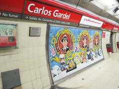 carlos gardel subway station in buenos aires, argentina. - stock photo