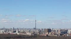 Ostankino tv tower in Moscow, Russia at spring day Stock Footage