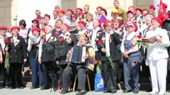 Veterans sing near Bolshoi theater in Moscow. Stock Footage
