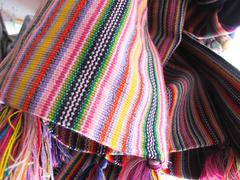 andean ponchos, chile - stock photo