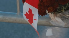 Flowers by war memorial, canadian flag Stock Footage