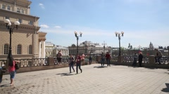 People on terrace with views of Theatrical square. Stock Footage
