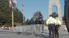 Police Officers by war memorial, Ottawa 2 Stock Footage