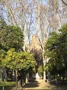 umbraculum: building garden, ciutadella park, barcelona - stock photo