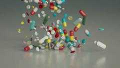 Pills and supliments pile Stock Footage
