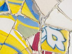 background of antonio gaudi mosaics - stock photo