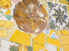 background of antonio gaudi mosaics - stock photo
