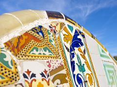 antonio gaudi mosaics, in park guell - stock photo