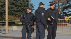 Police Officers by war memorial, Ottawa, 3 Stock Footage