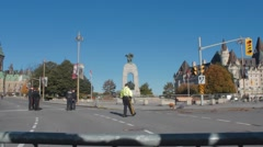 Police Officers by war memorial, Ottawa 7 Stock Footage