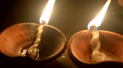 Close Up of Deep or earthen light used in India in Deepawali. Stock Footage